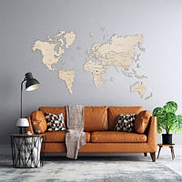 Дерев'яна Настінна Декоративна Карта Світу на стіну з дерева - Світлий Дуб