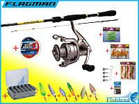 Набор для ловли хищной рыбы 18в1 Спиннинг + Катушка Флагман + Коробка + Приманки