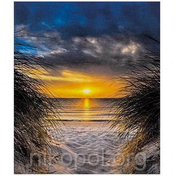 """Картина за номерами """"""""Захід сонця на морі"""""""" на полотні, велика 400*500мм №30267"""