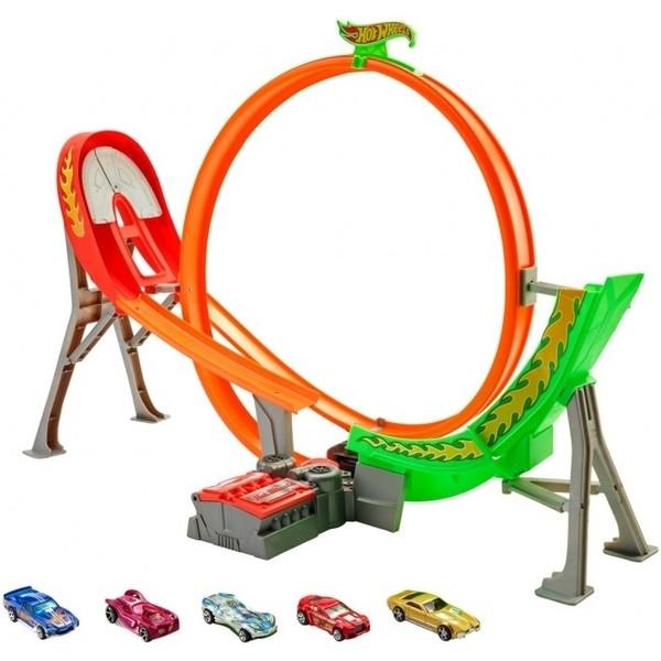 Хот Вилс Безумный форсаж и 5 машин/Hot Wheels Power Shift Raceway Track & 5-Race Vehicles Set FCF18