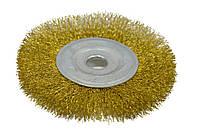 Щетка крацовка дисковая латунная 125х16мм Spitce 18-055 | Щітка крацовка дискова латунна 125х16мм Spitce