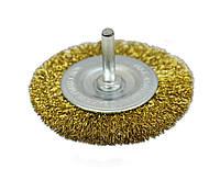 Щетка крацовка дисковая,латунная со шпилькой, 100мм Spitce 18-062 | Щітка крацовка дискова латунна зі