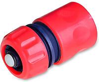 Коннектор с аквастопом 3/4 Technics 72-403 фитинг переходник для пистолета крана поливалки шланга распылителя