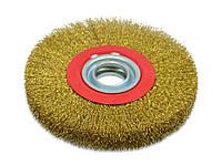 Щетка крацовка утолщенная дисковая, латунная, 150х32мм Spitce 18-074 | Щітка крацовка стовщена дискова латунна