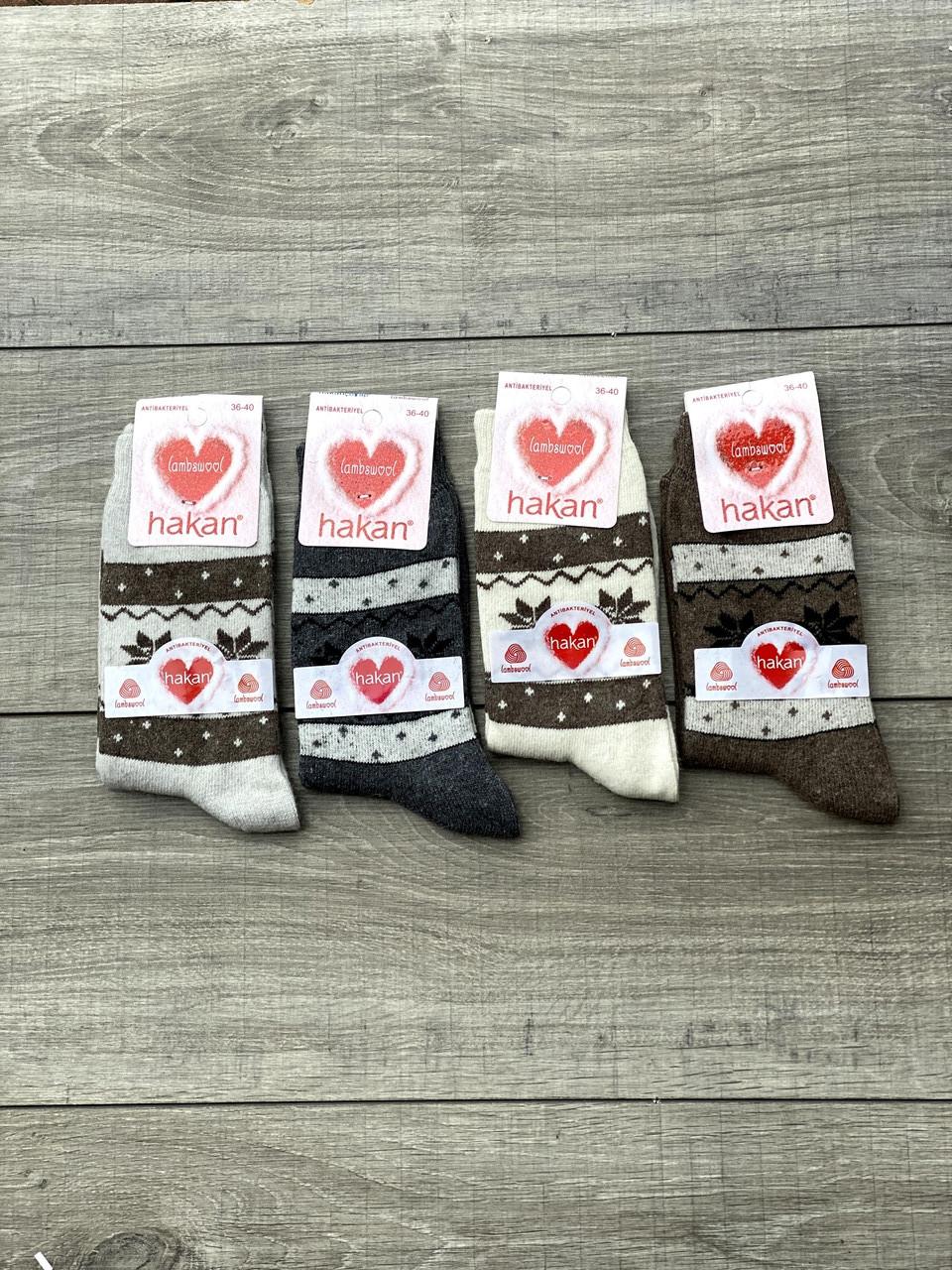 Шерстяні жіночі високі шкарпетки Hakan з візерунком розмір 36-40 мікс кольорів