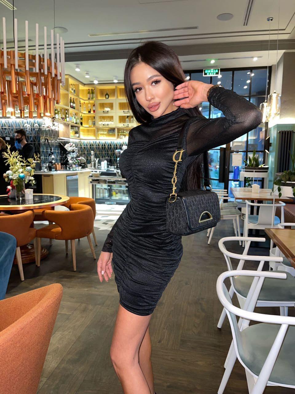 Шикарное женское вечернее черное платье