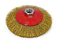 Щетка крацовка круговая, латунная 125мм Spitce 18-104 | Щітка крацовка кругова латунна 125мм Spitce 18-104, фото 1