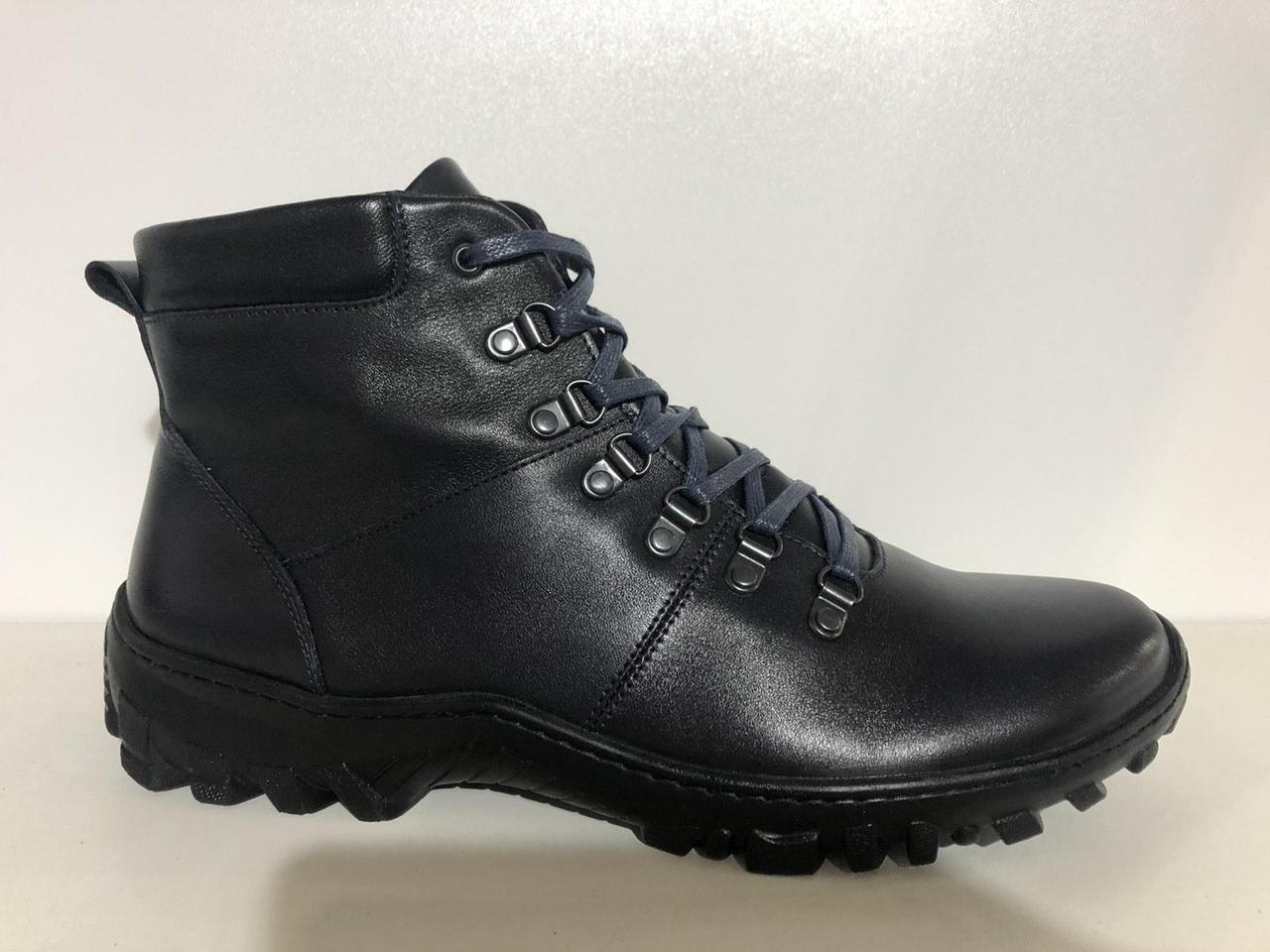Зимние мужские ботинки больших размеров черные из натуральной кожи Berg 591/1