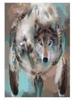 """Картина по номерам """"Волк-тотем"""" 40*50см,крас.-акрил,кисть-3шт.в коробке"""