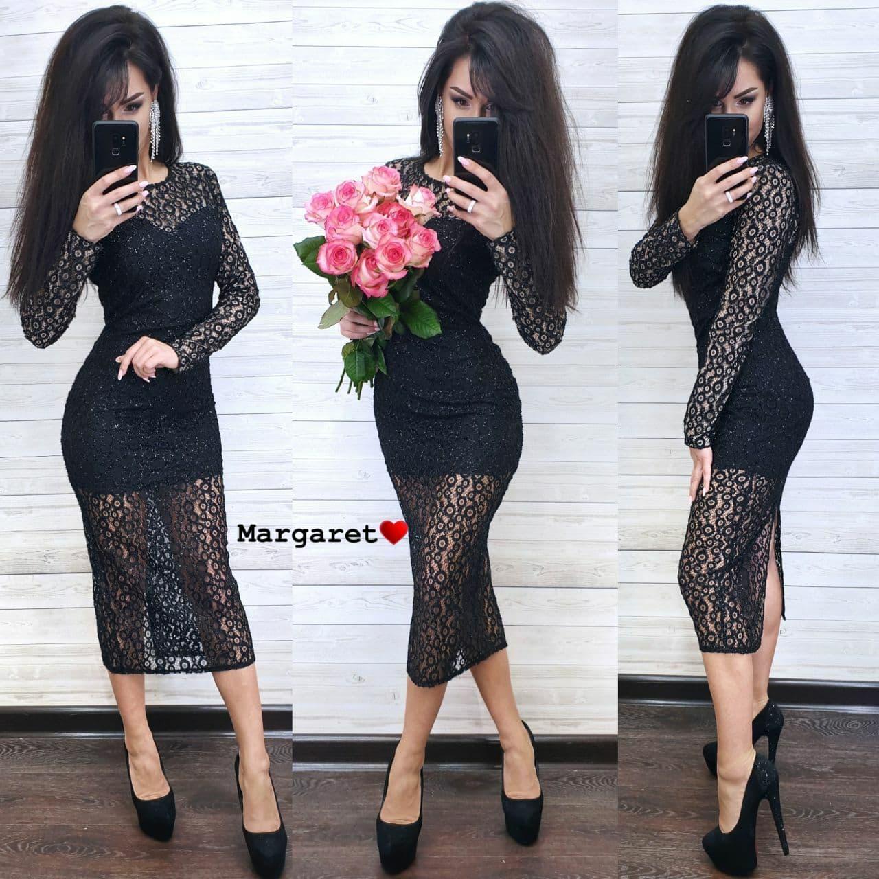 Женское черное кружевное платье-миди