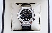 Чоловічий годинник Hublot Classic Fusion Chronograph Black ААА кварцовий хронограф на шкіряному ремінці з