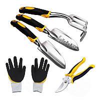 Набор садовый Lesko CG-0125 из 5 предметов с перчатками для сада огорода