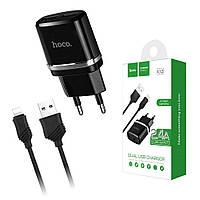 СЗУ Hoco C12 2xUSB (2.4A) + кабель Apple Lightning