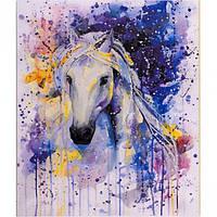 """Картина по номерам """"Белая лошадь"""" на полотне, большая 400*500мм №30448"""