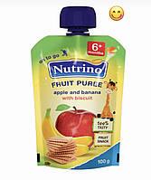 Пюре детское фруктовое Nutrino яблоко,банан печенье (пауч) 6м+ 100г Сербия 1030031