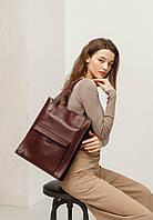 Сумка женская большая шоппер с карманом кожаная бордовая (ручная работа), фото 1