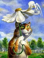 Картини за номерами Кот під ромашковою парасолькою 40х50см GX 8338