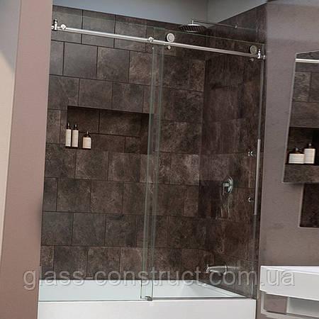 Шторка на ванну из стекла раздвижная (открытого типа)