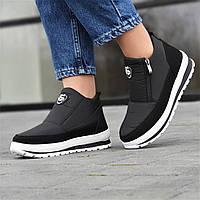 Черевики жіночі зимові на танкетці чорні (код 3435) - жіночі черевики зимові ботінки чорні, фото 1
