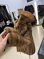 Женская норковая шуба полушубок песочного цвета XXS размер с капюшоном