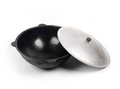 Казан узбецький чавунний на 16л з кришкою наманганський (округле дно)