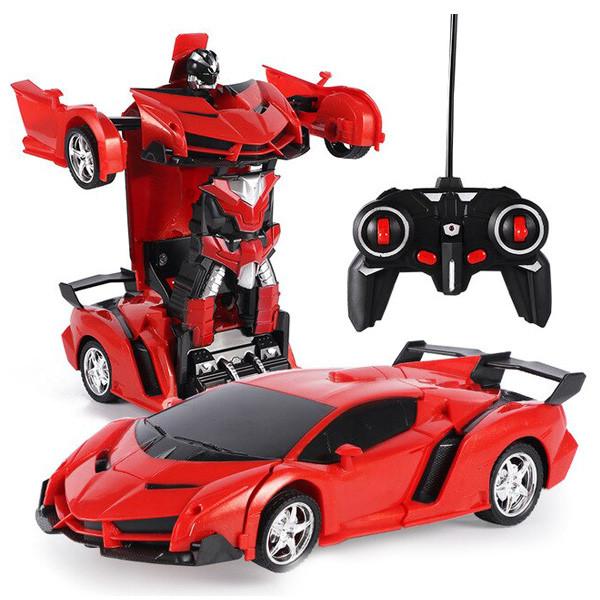 Машинка Трансформер Lamborghini Robot Car Size 18 - Красная