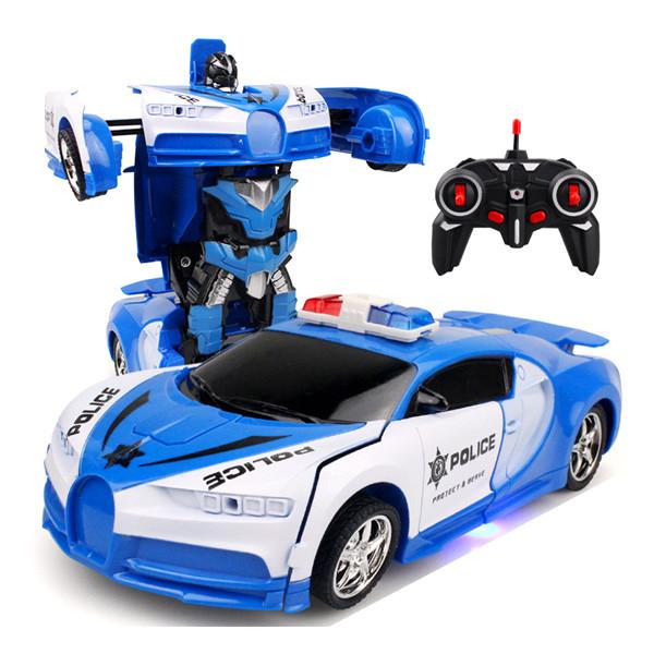 Машинка трансформер Lamborghini POLICE Robot Car Size 18 - Синяя