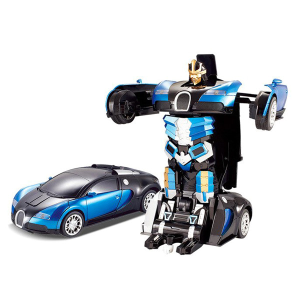 Машинка трансформер Bugatti Robot Car Size 1:18 - Синяя