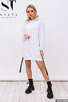 Спортивное трикотажное платье-худи с манжетом на подоле размер 42-48