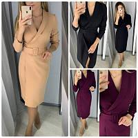 Эффектное женское платье халат на запах длина миди ремень не пришит 3 цвета, фото 1