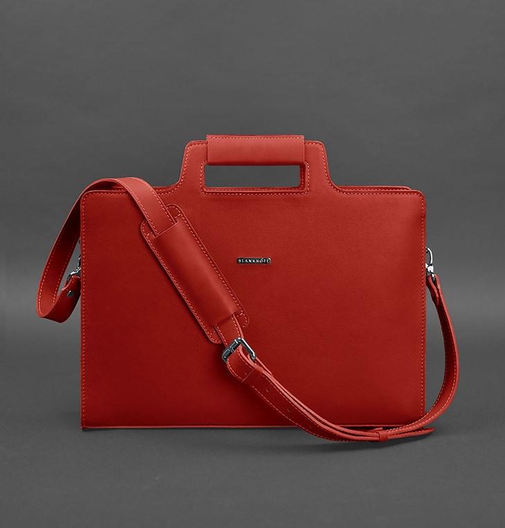 Сумка-портфель для ноутбука компьютера кожаная красная