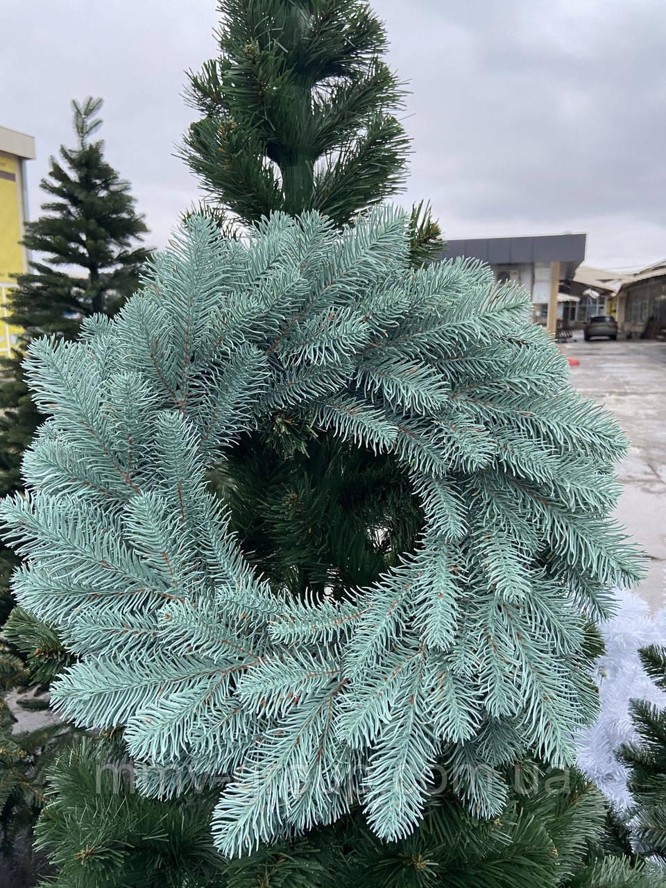 Литой Веночек новогодний голубой 40 см декоративный