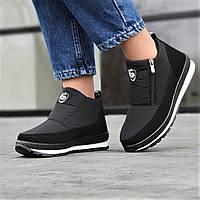Ботинки женские зимние черные (код 4143) - жіночі черевики ботінки зимові чорні