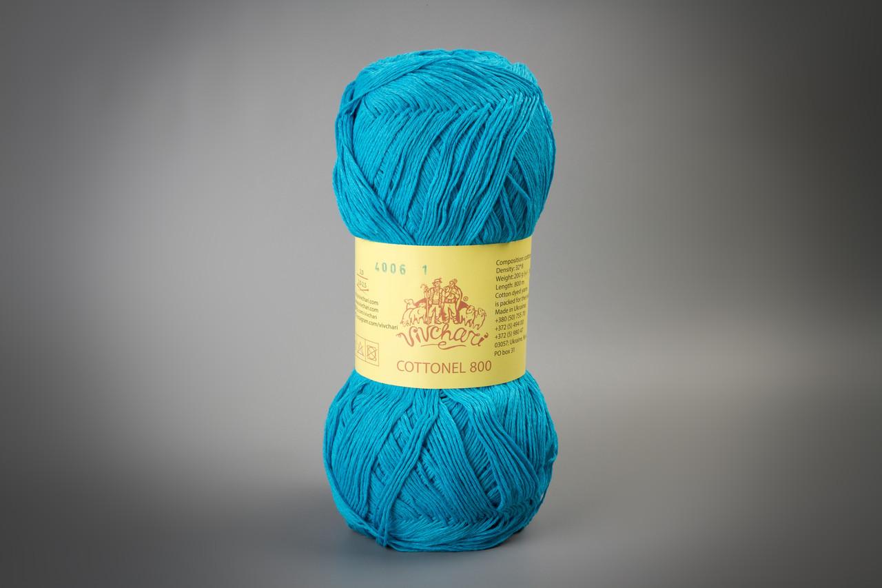 Пряжа хлопковая Vivchari Cottonel 800, Color No.4006 бирюзовый