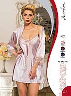 Атласная ночная сорочка и халат с кружевом большого размера (батал) Jasmin 1870