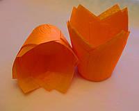 Тарталетки бумажные для кексов, капкейков оранжевый тюльпан
