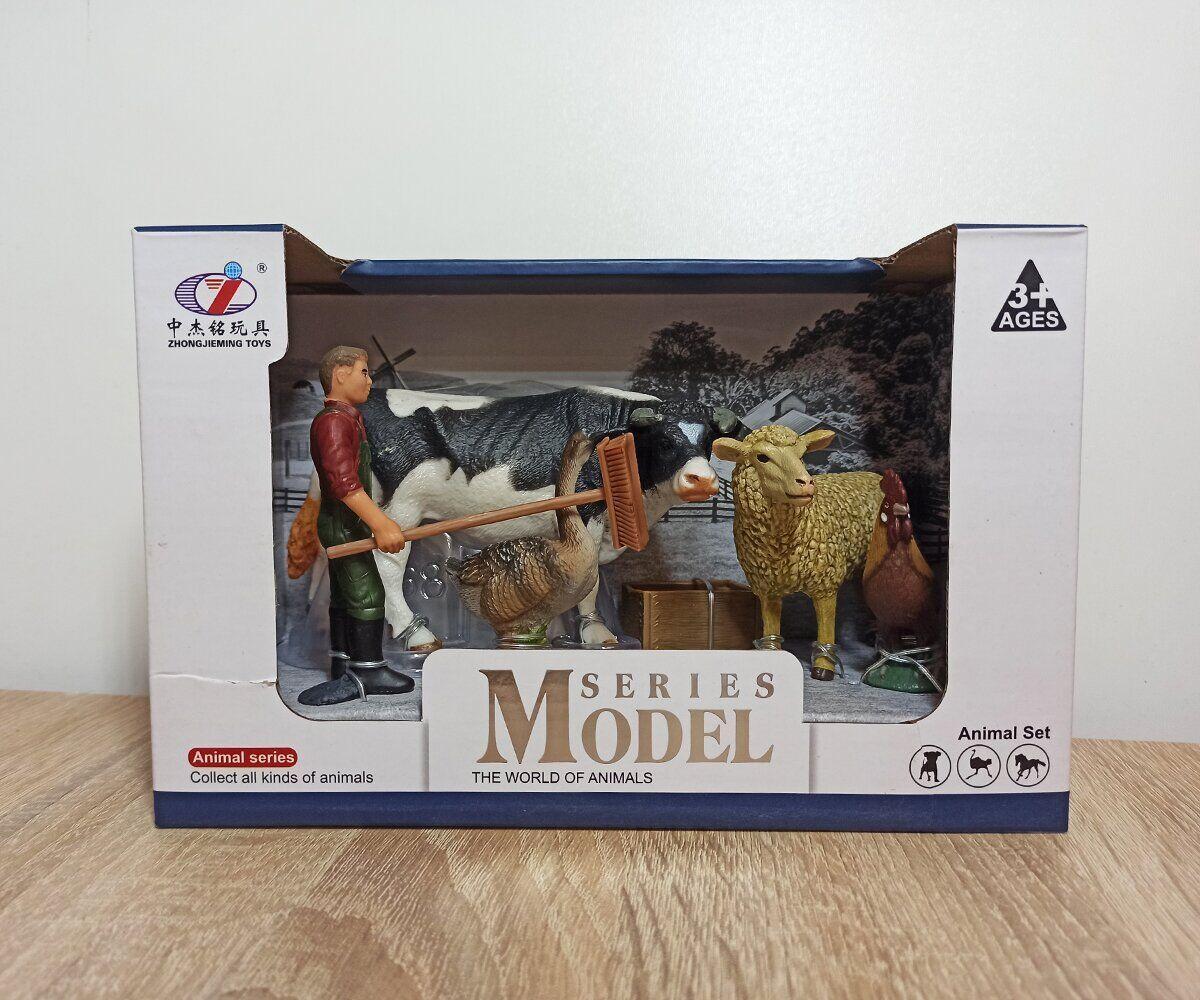 Набор животных Ферма Q 9899-X15-2 (мужчина с щеткой, корова, овца, петух, гусь)
