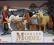Набор животных Ферма Q 9899-X15-2 (мужчина с щеткой, корова, овца, петух, гусь), фото 2