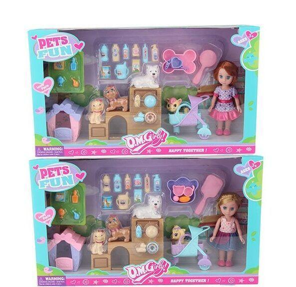 "Кукла ""PETS FUN"" 2 вида, 4 питомца, аксессуары, в коробке 64015"