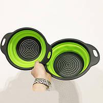 Дуршлаг складной COLLAPSIBLE FILTER BASKETS (силиконовый). Цвет: зеленый, фото 7