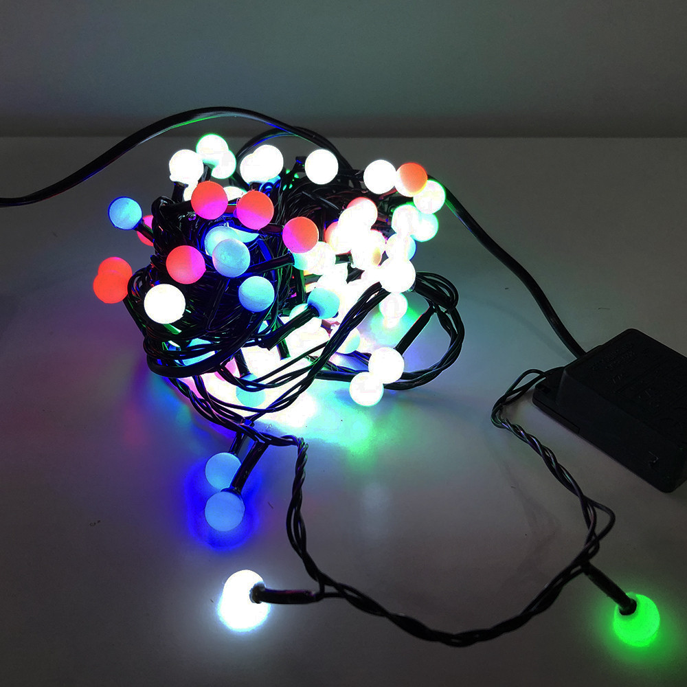Гирлянда-нить String-Lights внутренняя разноцветная (пров.:черный; 7м) (100М-6-2)