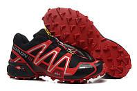 Кроссовки мужские беговые Salomon Speedcross 3 (в стиле саломон) черно-красные