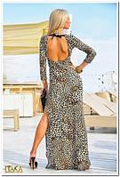 Платье в пол с открытой спиной и разрезом