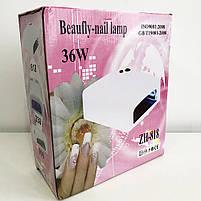 Лампа для маникюра с таймером ZH-818. Цвет: белый, фото 6