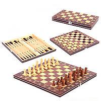 Шахматы деревянные с магнитом Chess нарды шашки 3 в 1 (С 45103)