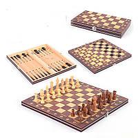 Шахматы деревянные с магнитом Chess нарды шашки 3 в 1 (С 45205)