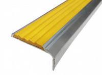 Тактильная лента антискользящая жёлтая в алюминиевом угловом профиле
