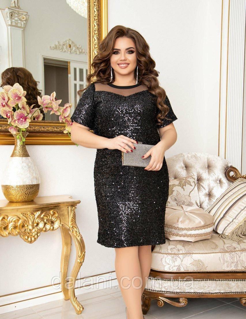 Вечернее черное платье с пайетками батал
