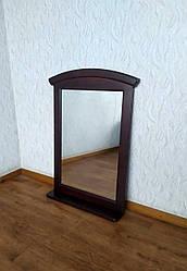 Дзеркало настінне в дерев'яній рамці з поличкою (колір на вибір) венге