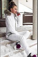 Горнолыжный зимний женский комбинезон белый, фото 1